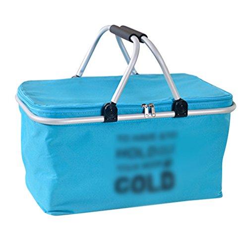 Dexinx Almuerzo de Aislamiento Térmico Cesta para Picnic Plegable Bolsa Térmica al Aire Libre Azul 48*28*24cm