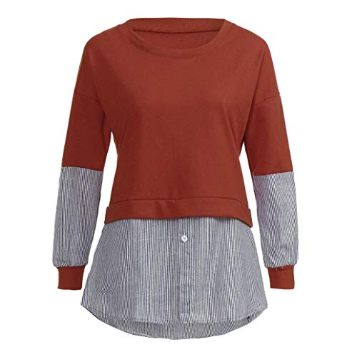MEIbax Damen Gestreiftes Shirt Langarm Splice Bluse Button Top Casual Sweatshirt Pullover Tunika