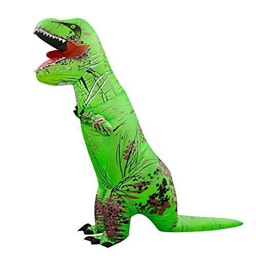 MIMI KING Dinosaurier Aufblasbare Kostüm Halloween Cosplay, Tyrannosaurus T-Rex Cosplay Für Erwachsene,Green