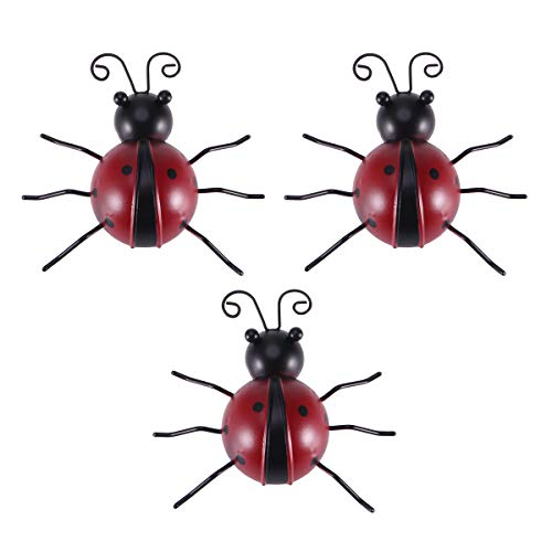 3pcs Hierro Mariquita Metal Animal Colgante Arte de la Pared Percha Interior...