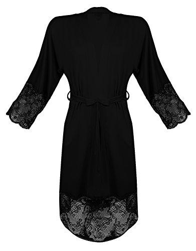 m.Lyra Damen Nachtwäsche Morgenmantel aus Viskose und Spitze ML17028 (XS - 2XL) Schwarz