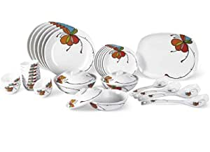 Borosil Vibgyor Fidenza Melamine Dinner Set, 35-Pieces, White