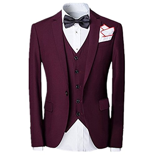 Traje para hombre de 3 piezas Cloudstyle corte entallado, chaqueta de 1 botón y chaleco, para bodas, graduaciones, fiestas Rojo rojo vino XL