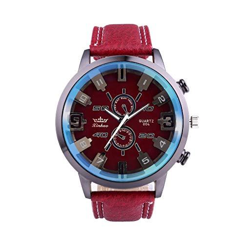 Senoly Herren Armbanduhren Analog Display Quarz Uhren Geschäfts Uhr mit Lederarmband Exquisite Blu-ray Glas Stilvolle Watches Armbanduhren Für Männer Modeschmuck Geschenk - Stilvolle Blu-ray
