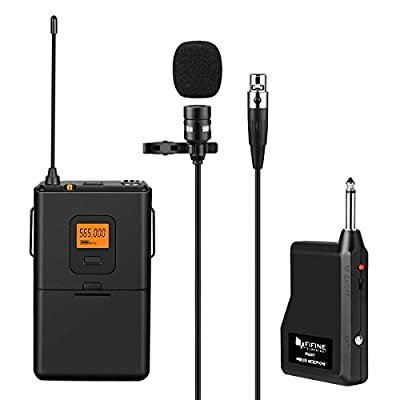 Fifine 20-Channel UHF Wireless Lavalier Lapel Microphone System with Bodypack Transmitter, Mini XLR Female Lapel Mic and Portable Receiver, Quarter Inch Output Perfect for Live Performance-K037