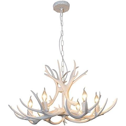 Shengdi corno di cervo 6-Light ferro industriale vintage lampadario a soffitto della lampada della lampada per Ristorante balcone Camera con paralume 1017C-6-1fr (White)