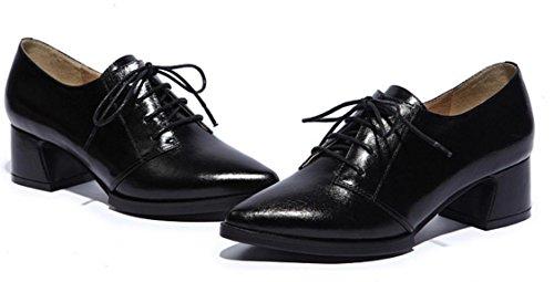 YCMDM Femmes Chaussures en cuir véritable Chaussures confortables Mode Loisirs Printemps Automne Hiver Lumière Rose Violet Rouge Noir 34 35 36 37 38 39 Black