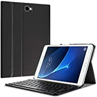 Fintie Bluetooth Tastatur Hülle für Samsung Galaxy Tab A 10,1 Zoll T580N / T585N Tablet - Ultradünn leicht Schutzhülle mit magnetisch Abnehmbarer Drahtloser Deutscher Bluetooth Tastatur, Schwarz