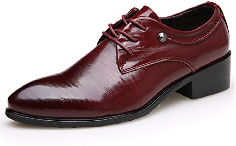 LYZGF Hombres Señaló Negocios Casual Moda Encaje Zapatos De Cuero,Red-43  -