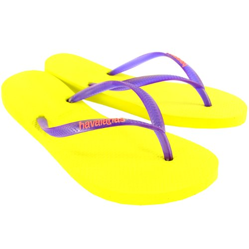 Damen Havaianas Slim Logo Strand Flip Flops Sommer Urlaub Sandale Neon Gelb