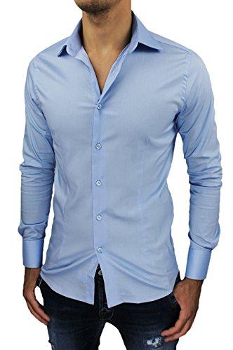 Camicia uomo sartoriale celeste slim fit aderente nuova casual elegante (m)