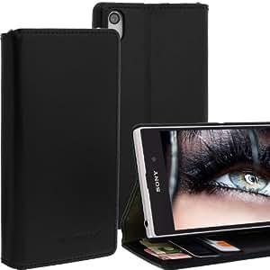 Tasche für Sony Xperia Z1 / L39H Case Hülle cover Etui Bookstyle book case Wallet Schwarz mit Standfunktion View Funtkion & EC- Kreditkartenfach