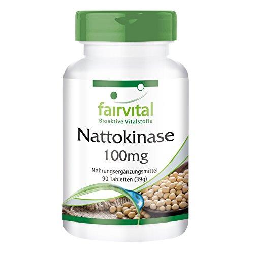 Nattokinase 100mg - GROSSPACKUNG für 3 Monate - VEGAN - HOCHDOSIERT - 90 Tabletten - 2000 FU