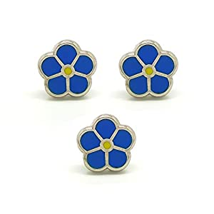 BOBIJOO Jewelry – 3-er Set Pins Blaue Blume Gelb Myosotis Knopfloch Freimaurer-Loge anstecker