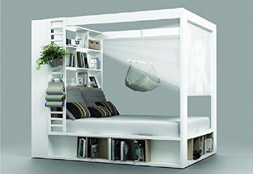 Himmelbett Doppelbett CALGARY weiß Ehebett mit Regalen Lattenrost Bettkasten Schlafzimmer NEU