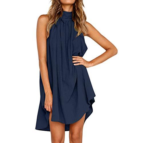 BHYDRY Damen Urlaub unregelmäßige Kleid Damen Sommer Strand ärmelloses Partykleid (S, Blau) -