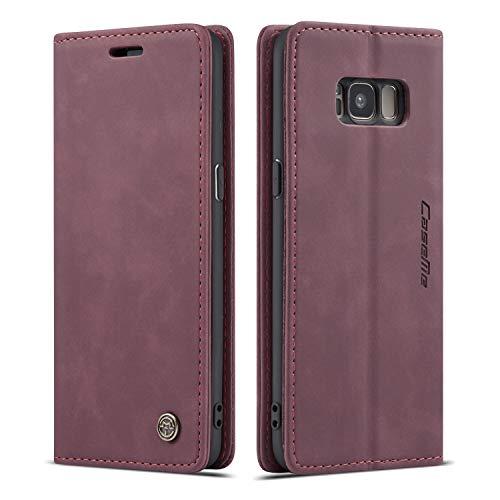 Schutzhülle für Samsung S Serie, Leder, magnetisch, Vintage-Design, Samsung Galaxy S8, Wein