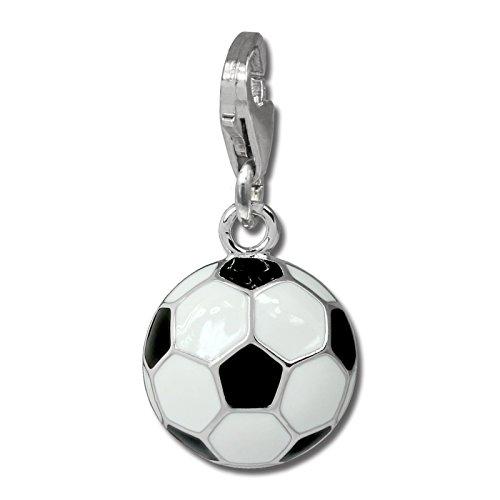 5er Silber Emaille Armband Anhänger s/w Fußball FC880W ()