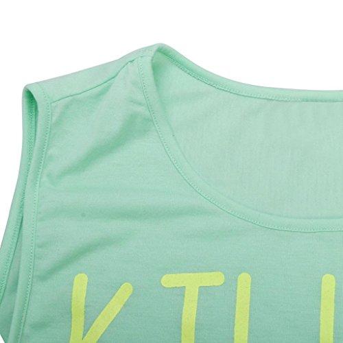 Tops,Yogogo Frauen Casual Weste Sommer lose Baumwolle ärmellosen Buchstaben T-Shirt Top Bluse Grün 1