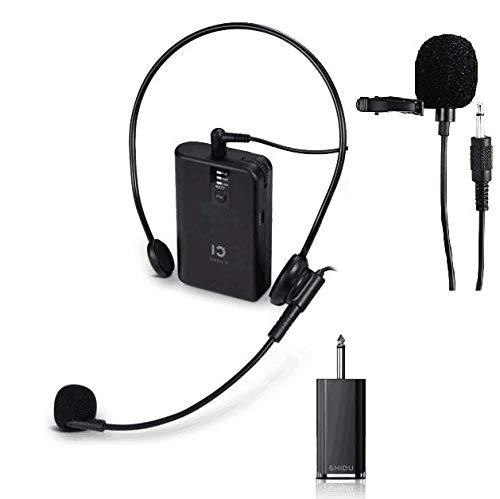 Sistema di microfono wireless UHF ricaricabile Cuffie e microfoni lavalier risvoltati, trasmettitore da cintura, perfetto per karaoke, registrazione, interviste, conferenze, presentazione scenica (U2)