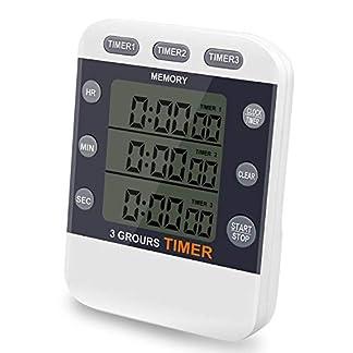 Temporizador digital CEEBON, 100 horas, reloj temporizador triple con cuenta atrás, reloj de cocina temporizador con pantalla LCD grande, alarma potente, soporte magnético