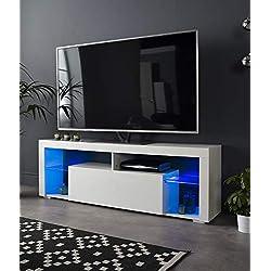 """Meuble TV Moderne Blanc Mat Brillant 160 cm avec lumières LED Bleues – pour TV LED LCD Plasma de 32"""" à 65"""" – Livraison au Royaume-Uni Uniquement."""