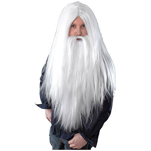Lange Perücke Zauberer mit Bart für Kostüm Magier alter Mann (Alter Mann Kostüm Bart)