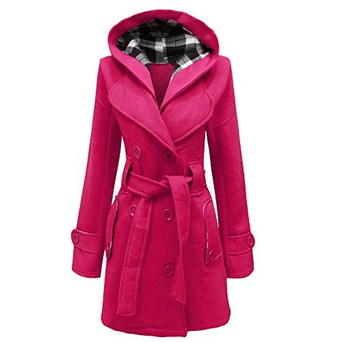 Dive Kapuzen-jacke (Damen Gürtel Button stylischer Hooded Kapuze Mantel Jacke Top 8–20 Gr. XXXL, Rosa - Fuchsia)