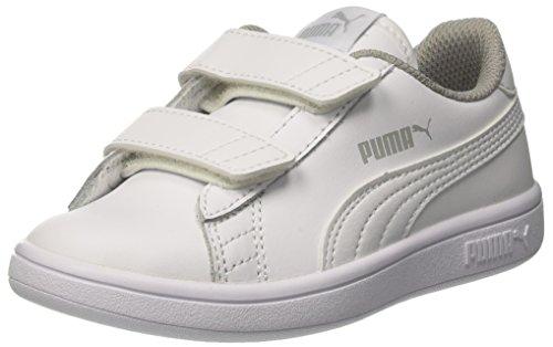 Puma Smash v2 L V PS, Scarpe da Ginnastica Basse Unisex-Bambini, Bianco White, 28 EU