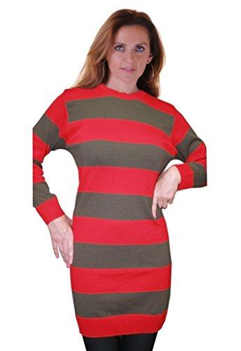 Islander Fashions Women's Halloween Red And Green Freddy Krueger Fancy Dress Striped Knitted Jumper (S-2X)