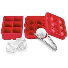 BeePole Moldes para fabricar bolas y cubos cuadrados de hielo - Combo de bandeja de hielo de silicona flexible (juego de 2) - 6 ranuras para cada molde con 1 clip de cubos de hielo de acero inoxidable (Rojo)
