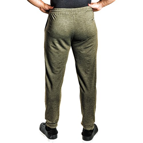 Natural Athlet Fitness Jogginghose meliert - Herren Männer optimal für Fitnessstudio, Gym & Training - Trainigshose mit Passform Slim-Fit - Sport & Freizeithose Olive
