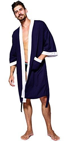 SEMIR Herren Waffelpique Bademantel Morgenmantel Nachtwäsche Kimono Saunamantel mit Taschen und Bindegürtel aus Baumwolle Marine M
