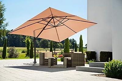 Schneider Rhodos Grande Sonnenschirm, rechteckig, sand, 400x300cm von Schneider Schirme - Gartenmöbel von Du und Dein Garten