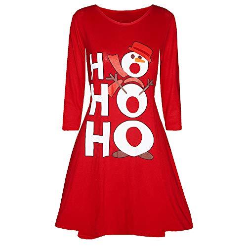 VEMOW 2018 Elegante Damen Abendkleid Weihnachtsfeier Cocktailkleid Kleid Gedruckt Langarm Abend Abschlussball Kostüm Täglichen Schaukel Kleid(X4-Rot, EU-42/CN-XL)