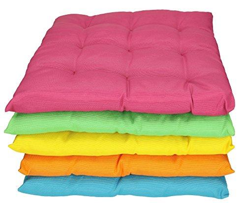 Betz 2 Stück Stuhlkissen Sitzkissen mit Bindebändern SUMMER 40x40 cm verchiedene Farben Farbe...