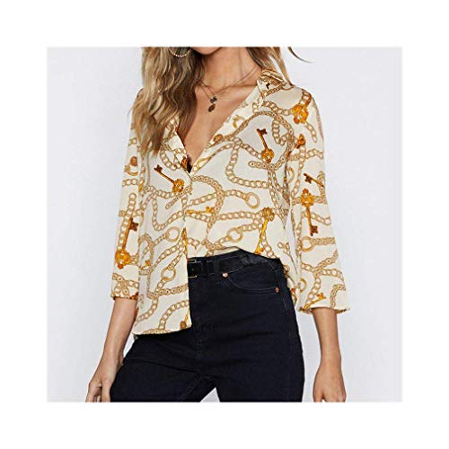 Women Chain Print Chiffon Blouse Turn Down Collar Office Shirts Loose Casual Tops -