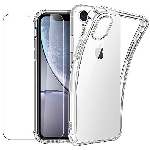 New&Teck Coque iPhone XR (6.1) + [Verre Trempé Protection écran], Housse Etui pour iPhone XR en...