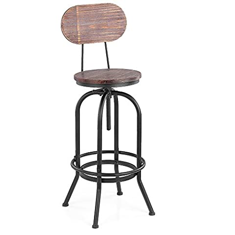 iKayaa Industrial Bar Stool Kitchen Dining Chair Swivel Stool With Backrest Pinewood Top Metal Height Adjustable