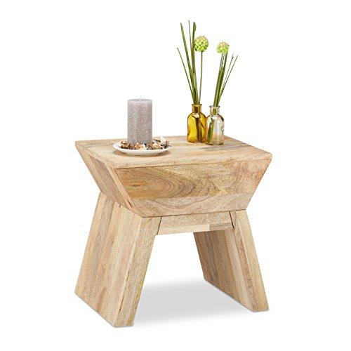 Relaxdays 10021158_126 tavolino sgabello 2 in 1, legno, beige, 35 x 45 x 44.5 cm