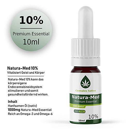 Natura-Med 10% Premium Essential | 10ml - CB1 und CB2 Aktivator (10%) Hanf Öl Tropfen mit Extrakt -