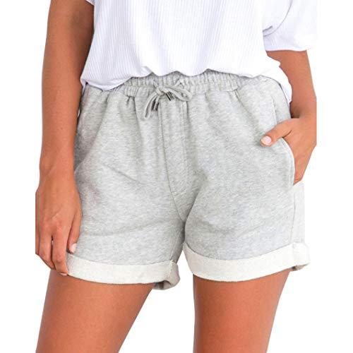 Mode Damen Shorts Sommer High Waist Lässige Gemütlich Kurze Hosen Freizeithose Beachshort Sporthose Taillen-kurze Hosen Hotpants (M, Grau) (Tragen Shorts)
