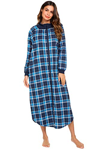 EKOUAER Damen Nachthemd Plaid Nacht Rei verschluss vorn Robe W Haus Mantel Nachtw X-Large Blaues Plaid (Robe Plaid Womens)