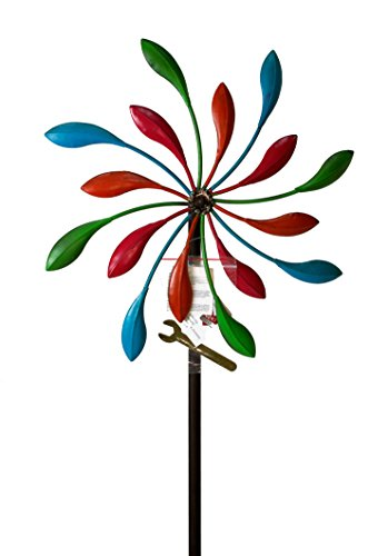 windmill-garden-stake-iron-antique-brown-with-colourful-propeller-bearings-turns-smooth-in-the-wind