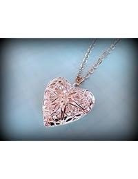 Simple colgante collar con camafeo de corazón de filigrana (tono de plata)