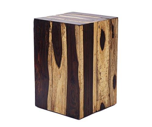 Brillibrum Table d'appoint Design en Bois véritable Tabouret en Bois Nature en Bois flotté carrée Bloc de Bois Bloc de 45cm de Hauteur Garden Bloc de Bois Table de Chevet