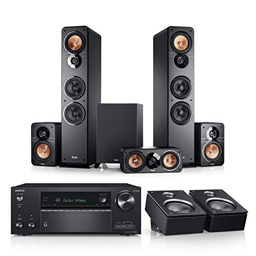 Teufel Ultima 40 Surround AVR für Dolby Atmos 5.1.2-Set Schwarz/Schwarz Heimkino Lautsprecher 5.1 Soundanlage Kino Raumklang Surround Subwoofer