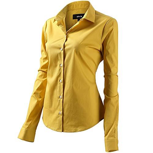 FLY HAWK Bluse Hemdbluse Damen Hemd Basic Kent-Kragen Elegant OL Work Slim Fit Langarm Stretch Formelle Hemden,Gelb, Größe 40, Hersteller - 12