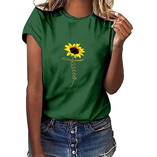 Oversize Shirt Oberteile für Damen,Dorical Frauen Sommer T-Shirt O-Ausschnitte Loose Sonnenblume Drucken Kurzarm Shirts Bluse Tops S-3XL Rabatt(Grün,Large)
