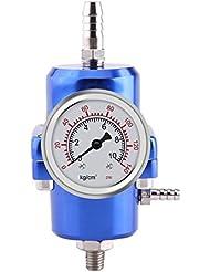 Qiilu Régulateur de Pression de Carburant FPR Réglable de Haute Performance avec Jauge Remplie avec Manomètre 0-140psi réglable[Bleu]